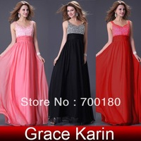Free Shipping 1pcs/lot New Stunning Black,Pink,Red Dress Evening Sequin Gown cocktail party Gown 8 Size CL2255