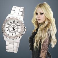 Classic Fashion Casual Women Dress Watches Round Dial Wrist Rhinestone Quartz Watch Ladies ROSRA Female Clock 2014 New Russia