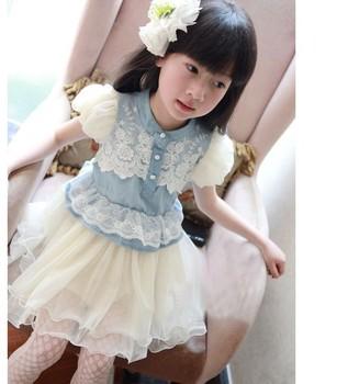 baby girls' dresses kids children denim lace short sleeve veil dress 0423 B 1139928956