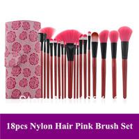 Free Shipipng~Professional New 18 Pcs Nylon Wood Havdle Pink Color Makeup Brushes Kit/ Brush with PU Bag
