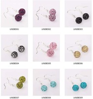 Free shipping 925 silver Shamballa Earrings Clay Disco Ball rhinestone earrings Mixed Colors Crystal jewelry