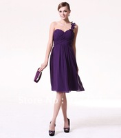 Free Shipping By DHL/FedEx Hot Sale Knee Length Chiffon Sweetheart One Shoulder Bridesmaid Dress Custom Made