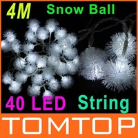 40LED 4M White LED String Snow Pompon led Christmas Light /Wedding/Party Decoration String Lights  Free Shipping