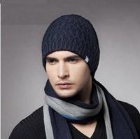 Men's Wool Beanie, Best Seller Knitted Beanie Hat KM-1180 Navy Blue & Dark Grey & Black