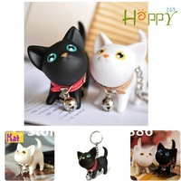 Happy365 Keychain Cute Cartoon Cat With bells / White Black color /Creative ornaments / Free shipping 6pcs/lot