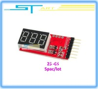 Free Shipping Wholesale Voltage Indicator Checker Tester  5pac/lot  2S-6S RC New  Lipo battery