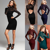 [Cerlony]Free Shipping Women Fashion Sexy Lace Open Back Dress,Club Long-Sleeve Dress,Casual Hollow Out Mini Women's Dresses L33
