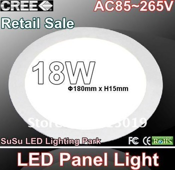 Retail Sale 18W CREE SMD LED Ceiling Panel Light Round Kitchen Lamp 85~265V Plate Lighting Downlight Bulb
