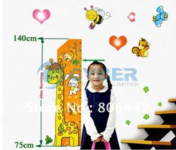 Promotions!! Giraffe Kids Growth Chart Height Measure For Home/Kids Rooms DIY Decoration Wall Stickers Free Shipping 6813(China (Mainland))