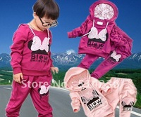New arrival!! Baby girls /boys clothing sets cotton high quality sports sets purple/pink/gray colors cartoon suits