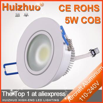 [Huizhuo Lighting]10pcs/lot High Power AC85-265V 5W White COB LED Downlight