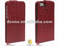 Mobile phone genuine flip leather case for Iphone 5, 100pcs/lot, DHL free shipping, wholesale/detail