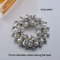(M0552) 51mm metal rhinestone embellishment bouquet shape,pearls and crystals,nickle plating,ivory pearl,flat back