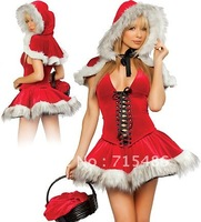 ML8019 Hot Selling Elegant and glamorous Red Polyester and Spandex Strapless lady Christmas Dress Costumes