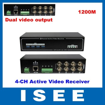 Christmas 4 Channels Active UTP Video Balun Receiver With Dual BNC Video Output Rack Mount Style 1200m FREE SHIPPING