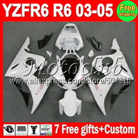 On sale+7gifts ALL White For YAMAHA YZF-R6 03-05 YZF R6 YZFR6 YZF600 600 03 04 05 2003 2004 2005 gloss white black Full Fairing