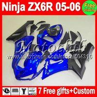 On sale+7gifts+Tank cover Fctory blue black For KAWASAKI NINJA ZX6R ZX636 05-06 ZX 6R 636 ZX-6R ZX-636 05 06 2005 2006 Fairing