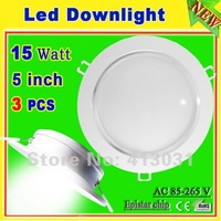 3 Pcs/lot Ultra Bright Led Downlight 15W 1500LM Epistar Luminarias De Led With Power Driver Warm White/Cool White CE PSE