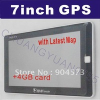 Free Shipping 7 Inch GPS Navigation FM 128 RAM Bluetooth AV-IN Lastest Map Speed Cam Build in 4GB Memory 719