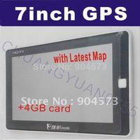 Free Shipping 7 Inch GPS Navigation FM 128 RAM Bluetooth AV-IN Lastest Map Speed Cam Build in 4GB Memory 719