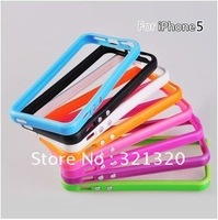 Wholesale 50pcs/lot Colorful Gel TPU bumper case for iphone 5, Soft TPU bumper cover case for iphone 5, DHL free shipping