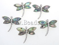 Abalone brass pendant, Animal, dragonfly design, brass setting with abalone cabochon & rhinestone, 33x25x8mm, Hole:Approx 7x3mm