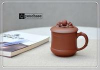 Genuine purple clay office mug, 400ml Yixing clay tea cup, 100% hand-made high quality ceramic cup