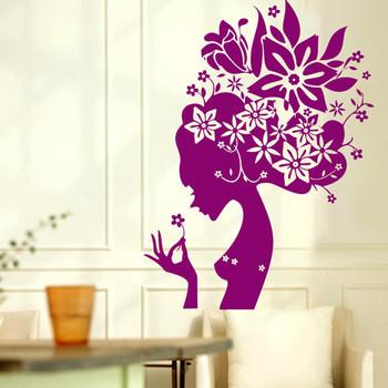 Beauty Decorative Wall Stickers Flower Elves House TV Restaurant Sofa Art Decoration Home decals pvc ticker Wallpaper 97*72 cm