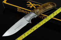 New 8'' Browning Full Tang Burl Wood Bowie Hunting Knife H338