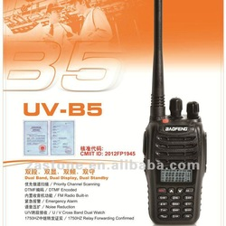 Newest handheld two way radio BaoFeng Dual Band walkie talkie UV-B5 Free shipping via HongKong Post(China (Mainland))