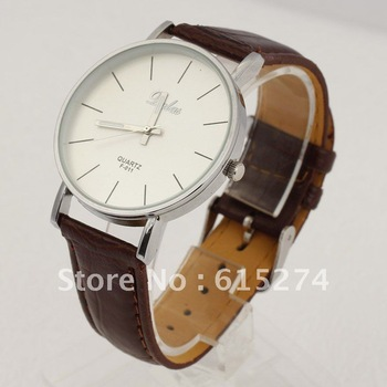 FREE SHIPING CASUAL MEN'S COOL ANALOG QUARTZ BIG DIAL CLOCK WHITE PU LEATHER MEN WRIST WATCH BROWN