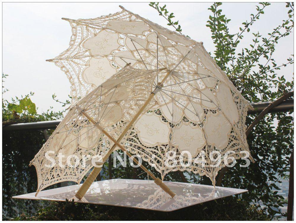[China Confúcio] 10pcs frete grátis / guarda-chuva pequeno Emboridered parasol, guarda chuva de algodão , creme Completa Batten Lace Parasol(China (Mainland))