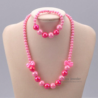 Gift Pink Bow Luster Plastic Beaded Necklace Bracelet Kid Jewelry Set Children Jewellery Accessories Wholesale 24set/lot FKJ0095