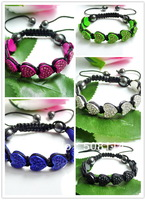 Shamballa Bracelet Wholesale.5pcs/lot Micro pave CZ crystal Heart shape bracelet Adjustable mix colors ATR0004