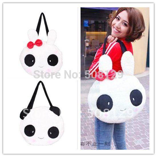Good Style Winter bags Women's Girls Lovely Sweet Handbag Cartoon Rabbit Bowknot Bow Panda Animal Warm Felt Shoulder Tote Bag(China (Mainland))