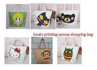 Free Shipping, 2013 New Arrivals Wholesale Printing Cartoon Canvas Shopping Bag  Women Handbag Tote Bag,Min 1lot / 5pieces