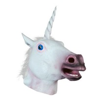 Halloween Creepy Adult Unicorn head latex Rubber Mask - Fancy Dress