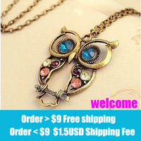 Big discount!fashion vintage bronze owl necklace wholesal!free shippping