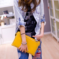2013 women's handbag rivet zipper envelope bag tablet bag day clutch bag