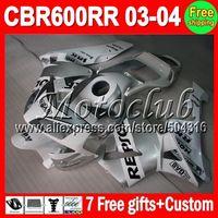 On sale+7gifts Repsol White For HONDA CBR600RR F5 03-04 CBR 600RR CBR600 RR 600 RR 03 04 2003 2004 Repsol white silver Fairing