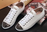 free shipping womens brand real leather good Quality black white Cream metal toe low cut sneaker shoes,mi