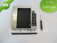 NEW 12.7mm Universal SATA 2nd Hard Driver caddy  Aluminum with LED light Caddy for Optical Drive Bay