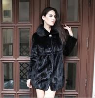 Factory New Stylish Women's Long Black Sheared Mink Fur Coat/Garment as Christmas Day Gift/ Free Shipping/ Retail