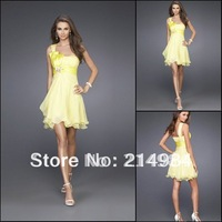 Fashion A-Line Empire Short One Shoulder Yellow Cocktail Party Formal  Prom Dress Ball Gown 2014 Vestido De Festa