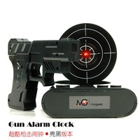 Freeshipping Amazing Gun Alarm Clock Shooting Game Laser Target Creative Clock Good Gift Black Edition