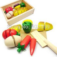 free shipping wooden toy box fruit cut kitchen Toys, wooden fruit kitchen children toys puzzles Pretend kids toys wj-0022