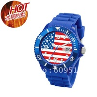 hot sale free shipping and cheap price fashion colourful silicone flag watch