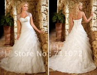 Sweetheart Ball Gown Chapel Train Organza Ruffles Beaded Bridal Wedding Dress With Jacket Luxury Unique Lace Up Back