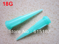 100 Pcs Industrial 0.84mm Inner Dia Tip 18GA Dispensing Needles Green