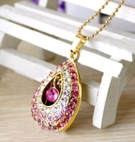 Crystal Metal tears Bohemian necklace jewelry Model USB 2.0 Flash Memory Stick Pen Drive 2GB 4GB 8GB 16GB 32GB LU129